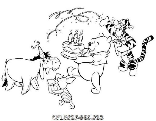 Coloriage Anniversaire Winnie Lourson.Winnie L Ourson