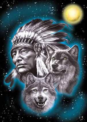 images d'indien et loup